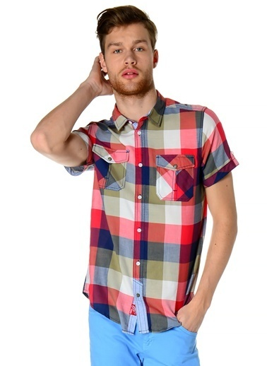 T-Box Kısa Kollu Kareli Gömlek Kırmızı